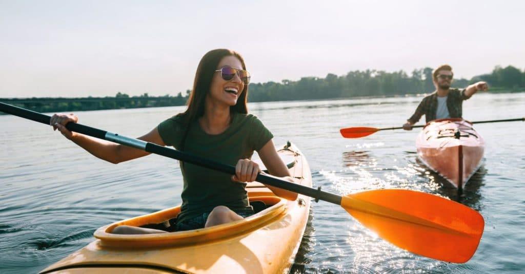 Couple kayaking in CT